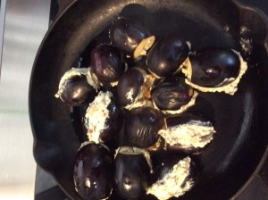 Baby aubergines with ricotta