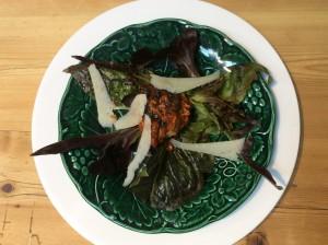 Salad of subergine and ricotta